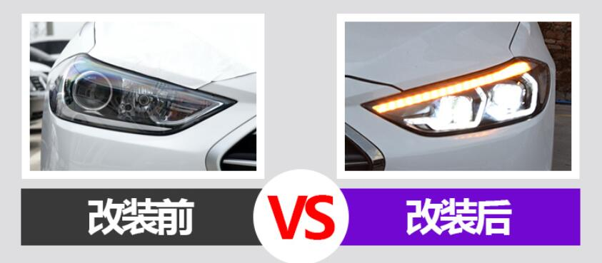 Image 2 - One set Car Styling for Hyundai Elantra Headlights 2017 2018 DRL Elantra LED Headlight DRL Bi Xenon Lens High Low BeamCar Light Assembly   -