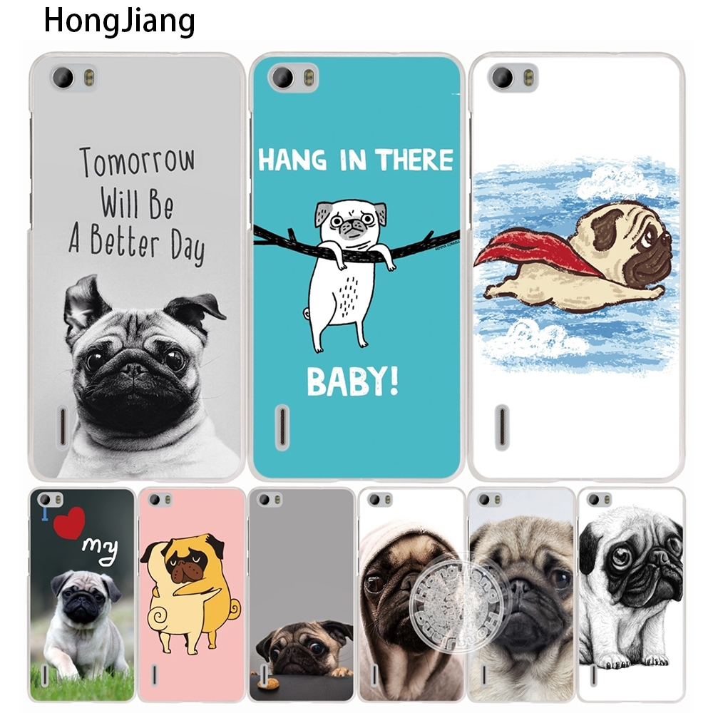 HongJiang cute funy lovely pug dog <font><b>cell</b></font> <font><b>phone</b></font> Cover Case for <font><b>huawei</b></font> honor 3C 5A 4A 4X 4C 5X 6 7 8 <font><b>Y6</b></font> Y5 2 II Y560