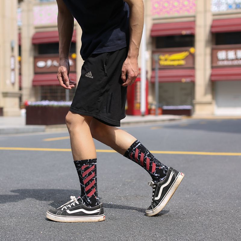 Tide Brand Socks Male Stockings Tide Street Personality Hip-hop High Canister Summer Black Long Canister High Waist. Skate Socks