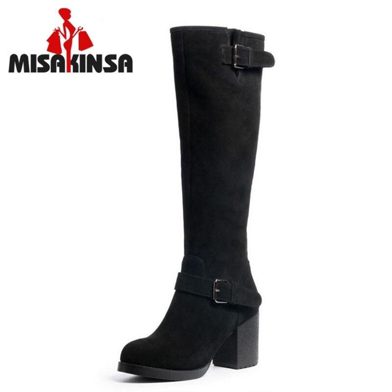 FITWEE femmes en cuir véritable genou bottes Zipper bottes à talons hauts chaud chevalier bottes hiver longues Botas femmes chaussures taille 34-39