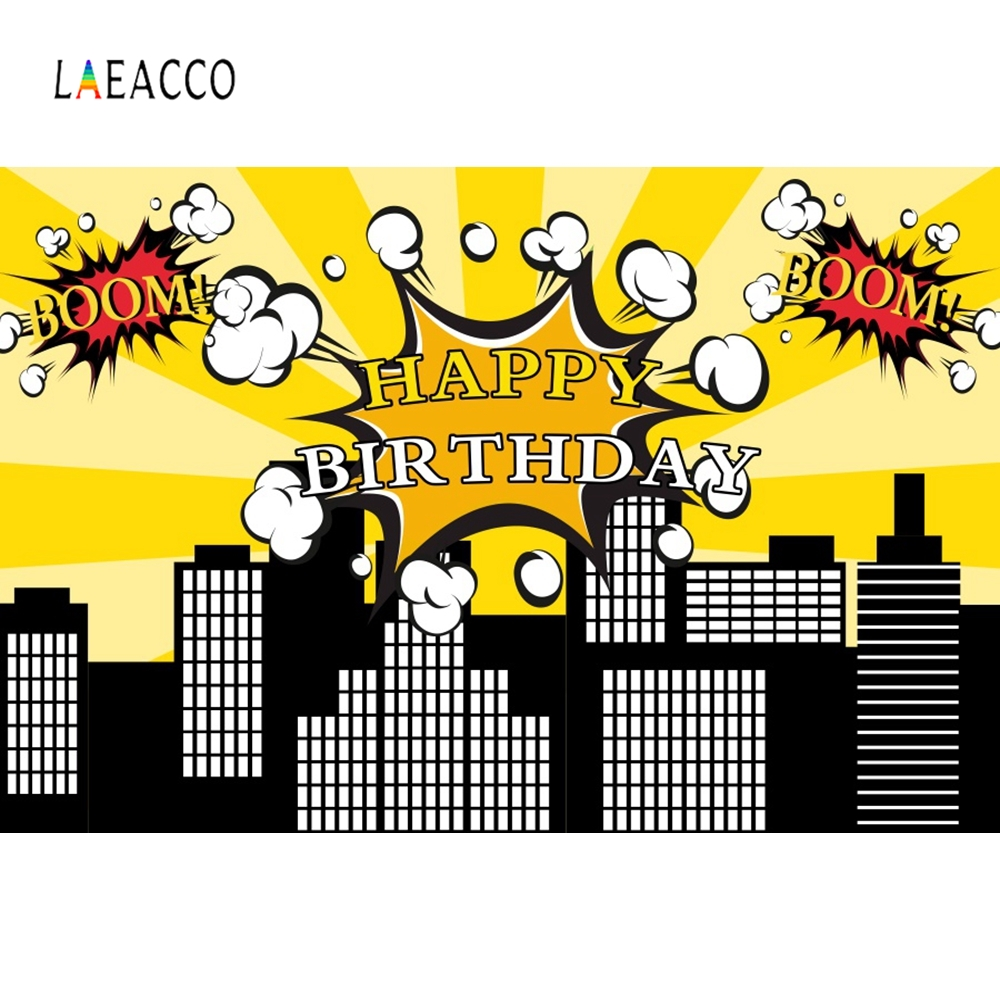 Laeacco Cartoon Building Backdrop Super Hero Photography Background Customized Photographic Backdrops Props For Photo Studio