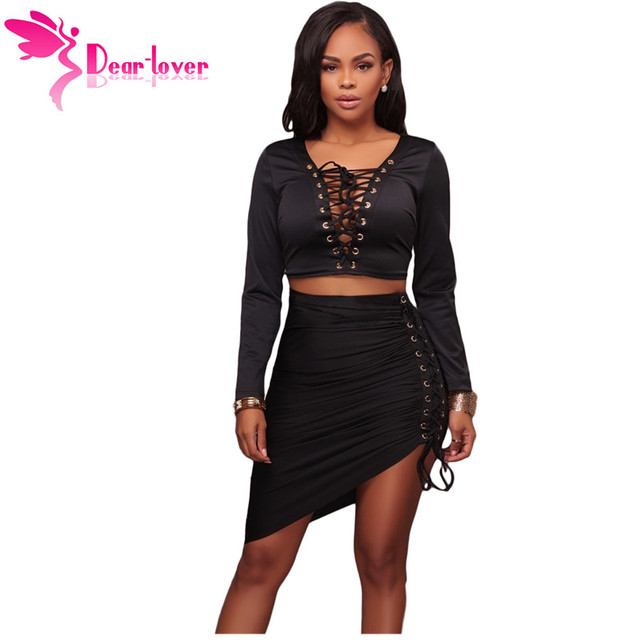 fe4d455b93 Dear Lover Two Piece Outfits Party Club Black Lace Up Long Sleeve Crop Top  with Bodycon Skirt Set Conjunto Feminino Pink LC63035