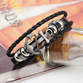Men's Anchor Bracelet&Bangle Male Multilayer Accessories homme Jewelry Black Color Leather Bracelets valentine's day Gift