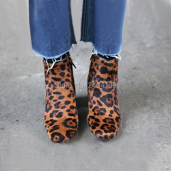 fd864dd2e42e Faux Horsehair Suede Leopard Ankle Boots Brown Thick Chunky Heel Sexy High  Heels Flock Zip Booties Ladies Autumn Shoes On Sale-in Ankle Boots from  Shoes on ...