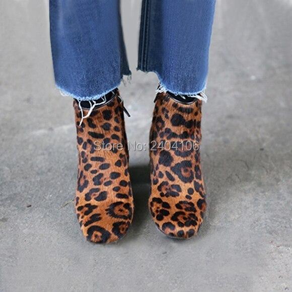 Faux Rosshaar Wildleder Leopard Stiefeletten Braun Dick Chunky Ferse Sexy High Heels Flock Zip Booties Damen Herbst Schuhe Auf verkauf - 2