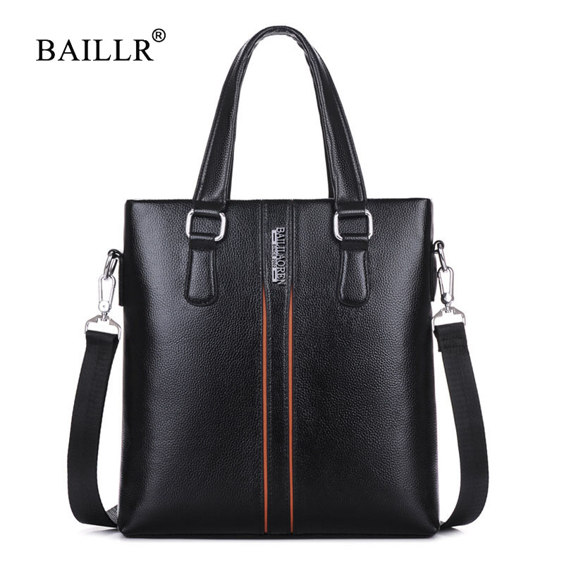 BAILLR Brand New Men Handbag Business vertical shoulder bag for male brand pu leather Messenger Bags Casual Crossbody top-handle