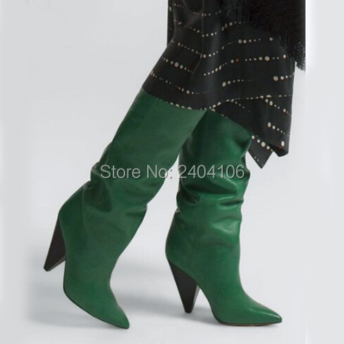 black Botas Pic Talons Moto as Spike Bottes Hautes Pic Black Noir Femme Cuir as Chaussons Leather Mujer Chaussures Automne Rouge Suede Bout Mode Pointu Vert De En 8wffq1TF