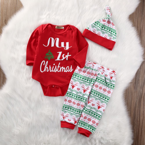 Baby & Toddler Clothing 3pcs Christmas Baby Girl Boy Clothes My First Christmas Letter Romper Tops+deer 100% High Quality Materials One-pieces