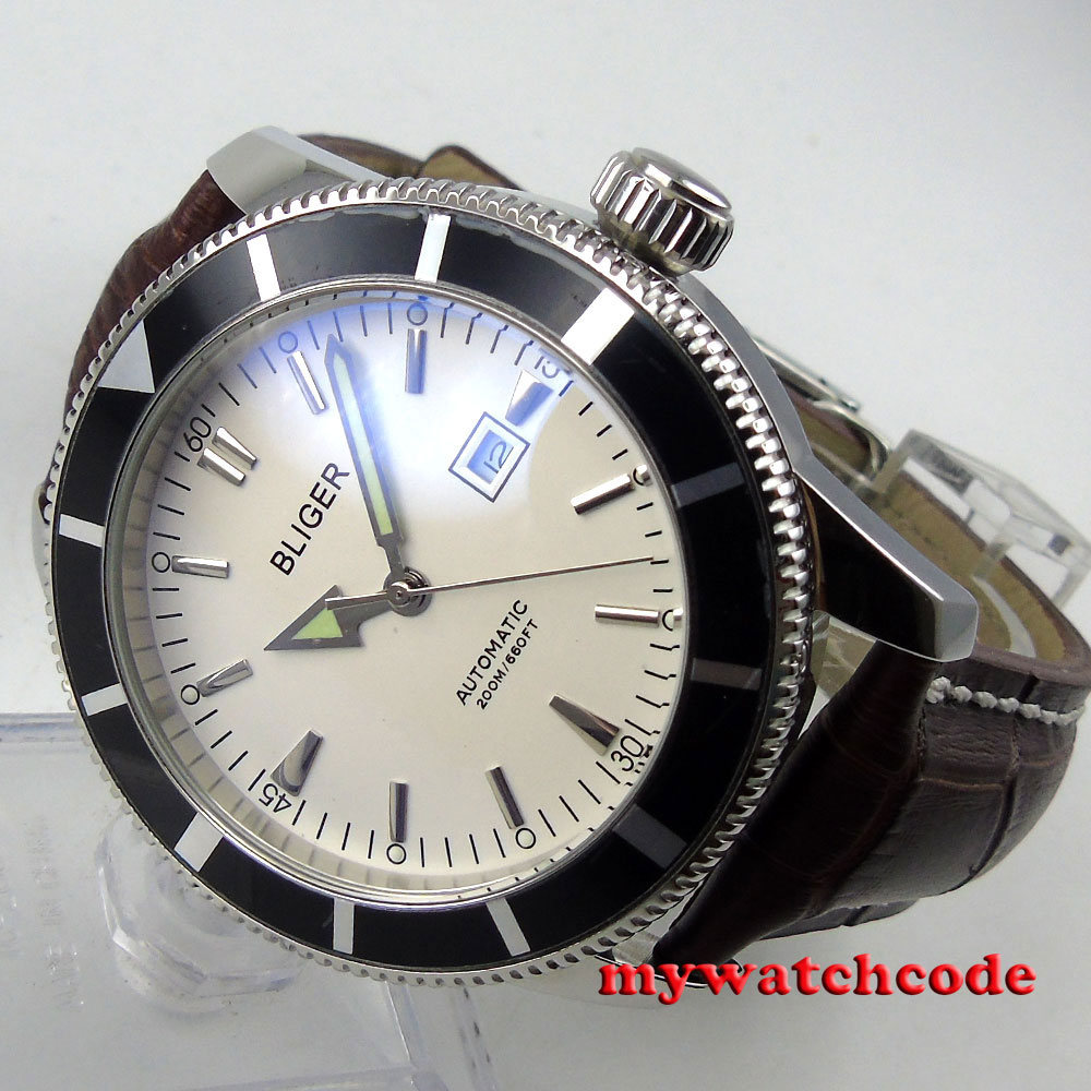 46mm bliger white dial black bezel luminous marks automatic mens watch B114 цена и фото