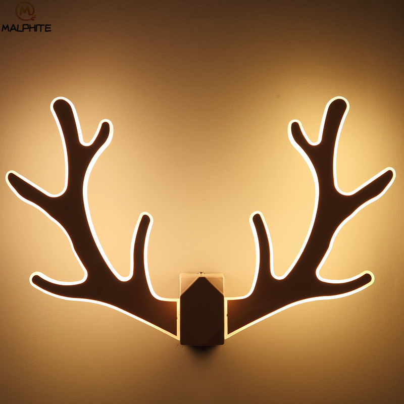 Modern LED Macarons Antlers Wall Lamp For Bedroom bedside Wall Sconce corridor Indoor Decor Lighting Lamp black LED Wall Light