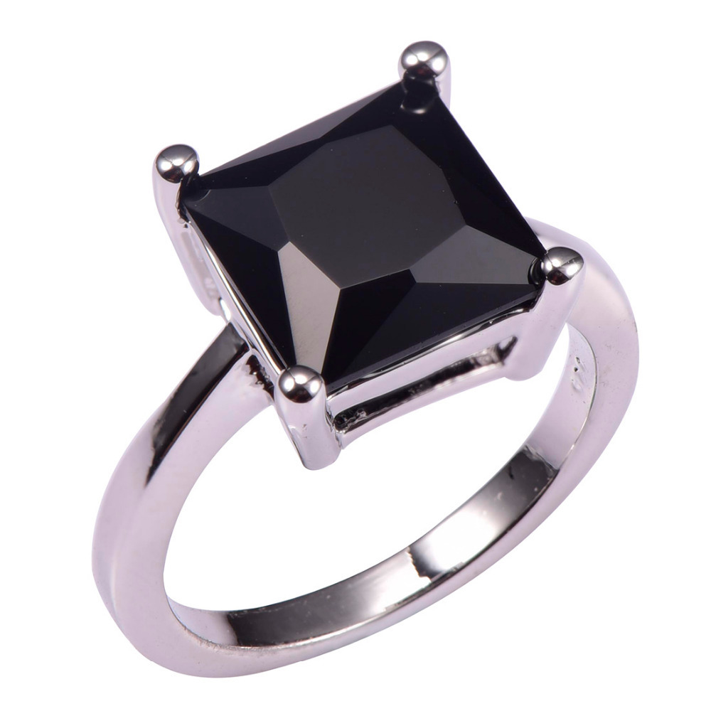 Classic Style Black Onyx 925 Sterling Silver Wedding Party Fashion Design  Romantic Ring Size 5 6