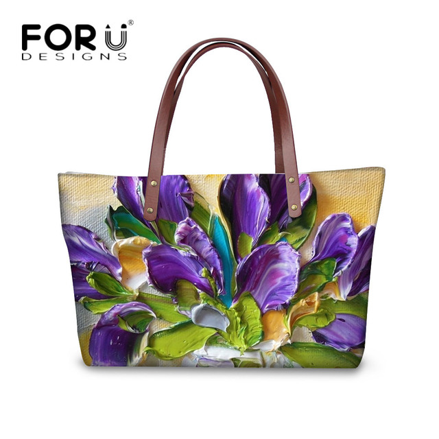 20d20e2c77 FORUDESIGNS Fashion Flower Painting Women Casual Tote Bags Large Crossbody  Messenger Bags for Women Female Bag Bolsa Feminina