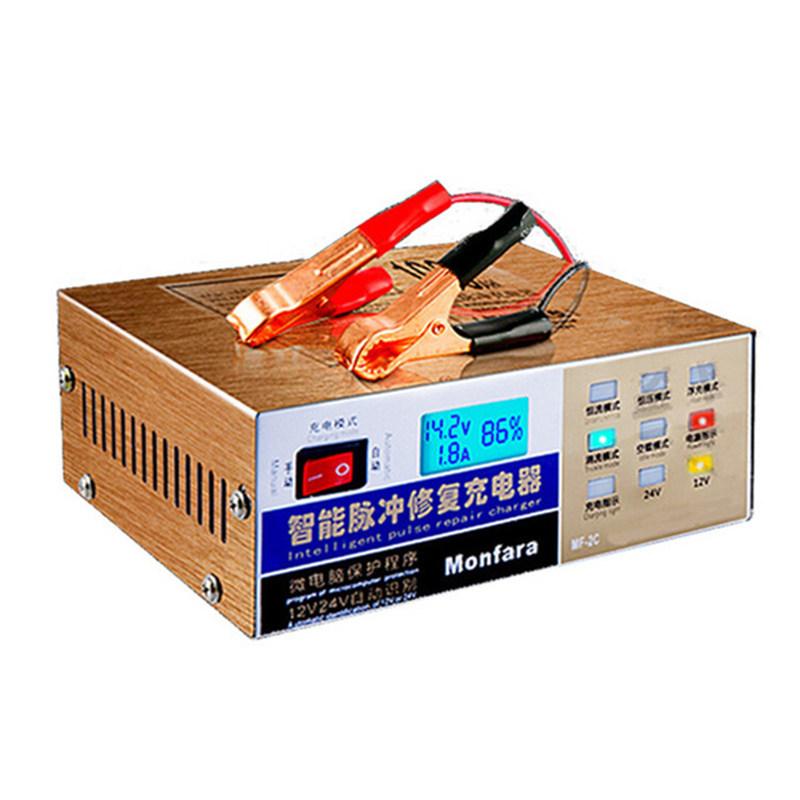 Prix pour Date 110 V/220 V Automatique Électrique Batterie De Voiture Chargeur Intelligent Réparation D'impulsion Type Batterie Chargeur 12 V/24 V 6AH-100AH MF-2C
