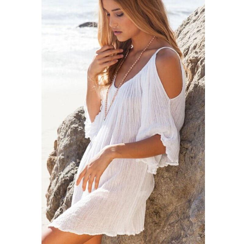 4b1204a44f9b2 Vestidos de novia 2016 new bohemian cute white sexy beach cover ups women  ruffled summer sundresses for women swimwear beachwear on Aliexpress.com    Alibaba ...