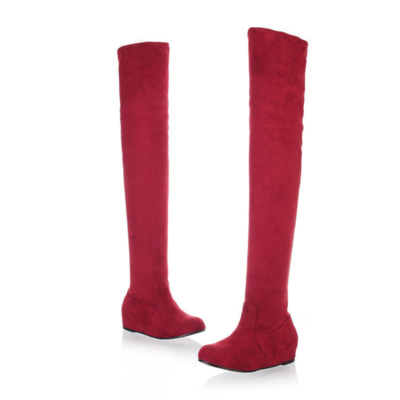 Plus Size 47 Women Boots Autumn Winter Ladies Flat Bottom Heigh Increasing Shoes Over The Knee Thigh High Suede Long