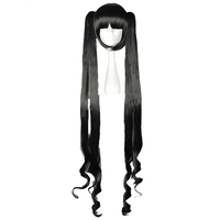 MCOSER 100CM Long Curly Synthetic Cosplay Hair With Two Ponytails Black Color 100% High Temperature Fiber WIG 580A