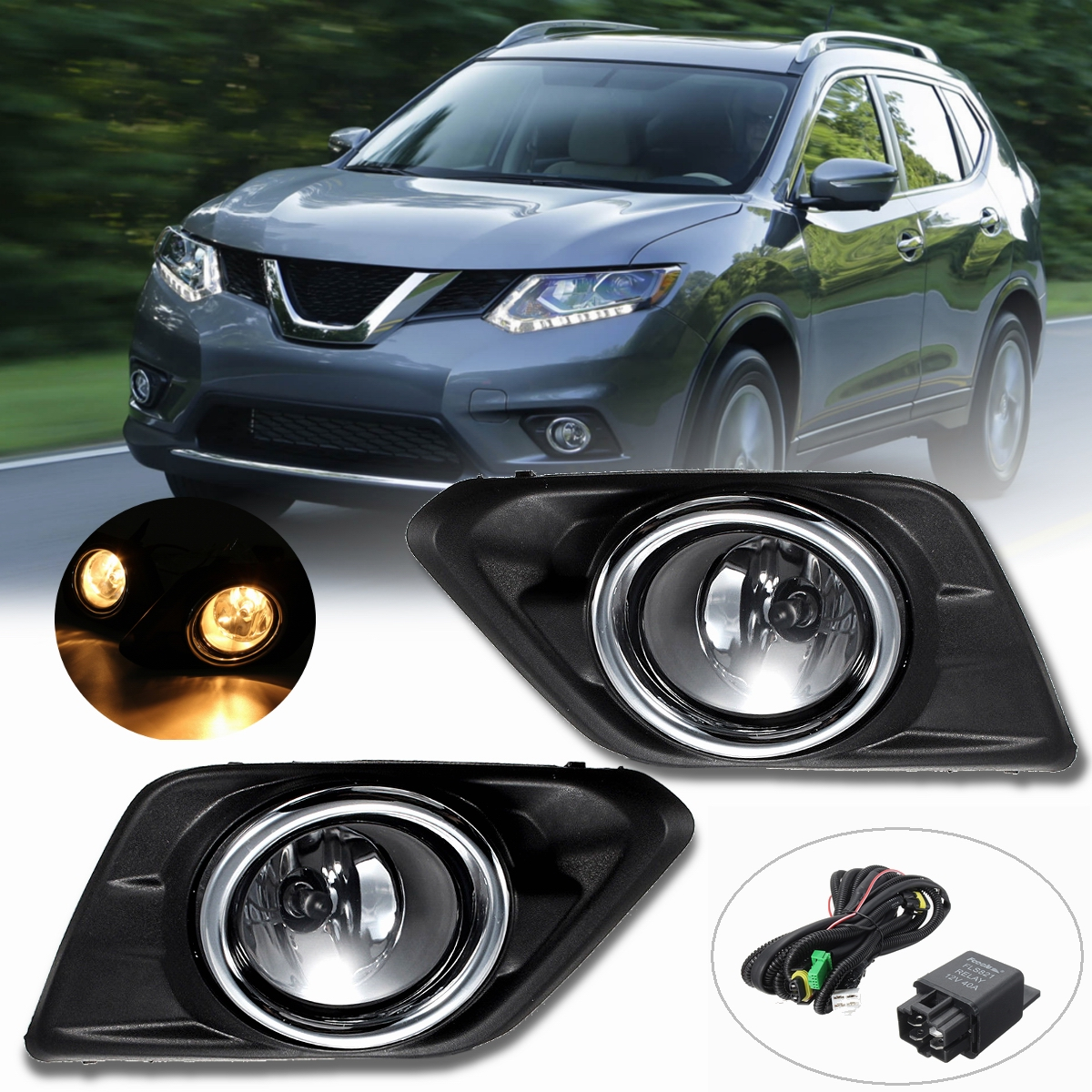1 Pair Chrome Clear Lens Car High Brightness Bumper Fog Light Lamp Styling For Nissan Rogue SUV 14 16 w/Bulbs Switch Bezel Kit