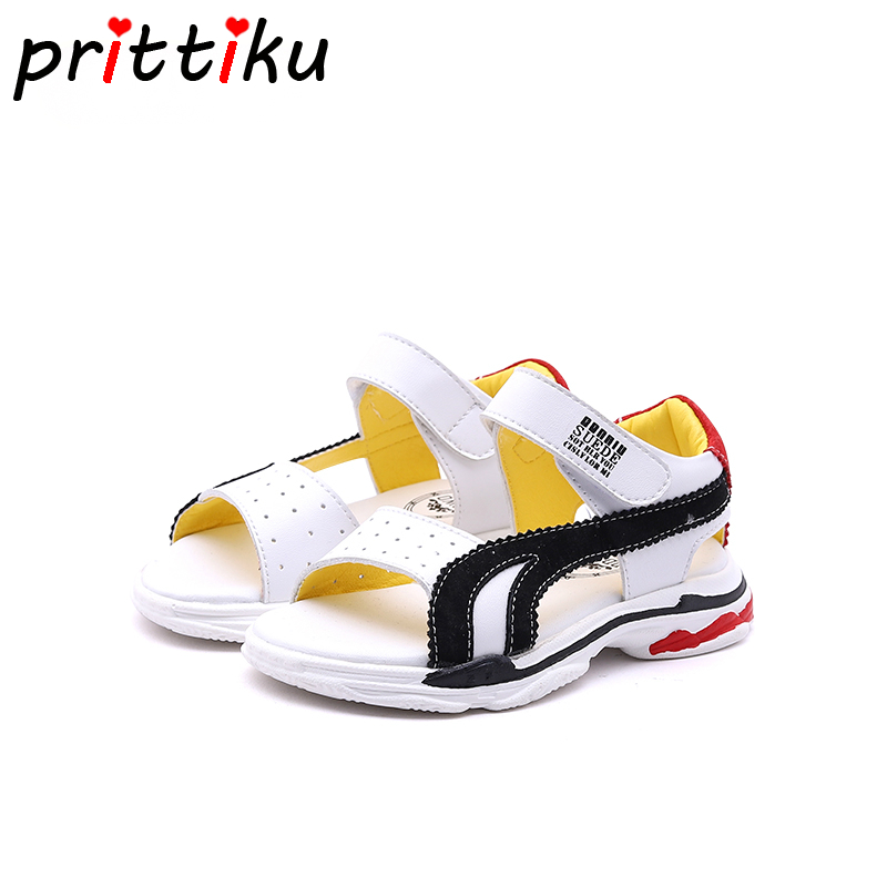 Summer 2018 Baby Boy Girl Microfiber Leather Sandals Little Kid Beach Water Flats Children Fashion Brand Green Yellow Red Shoes