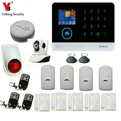 YobangSecurity Wireless Wifi GSM GPRS Home Office Security Burglar Intruder Alarm Video IP Camera Smoke Fire Sensor APP Control yobangsecurity touch keypad wireless wifi gsm home security burglar alarm system wireless siren wifi ip camera smoke detector