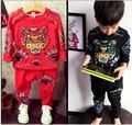 2016 nova moda do tigre camisola + calça harém primavera outono impresso crianças 100% algodão preto A311