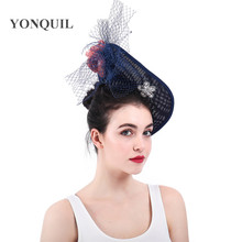 f98b0a628182e Fascinators Ladies Hats For Weddings Church Sinamay Fedora White Feather  Pillbox Hat With Veil Vintage Derby
