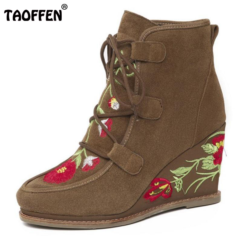 TAOFFEN Female Real Leather High Heel Ankle Botas Women Wedges Shoes Ladies Lace Up Winter Warm Short Plush Boots Size 34-39 taoffen new winter genuine real leather boots women flats plush ankle snow boots feminina casual lace up women shoes size 34 39
