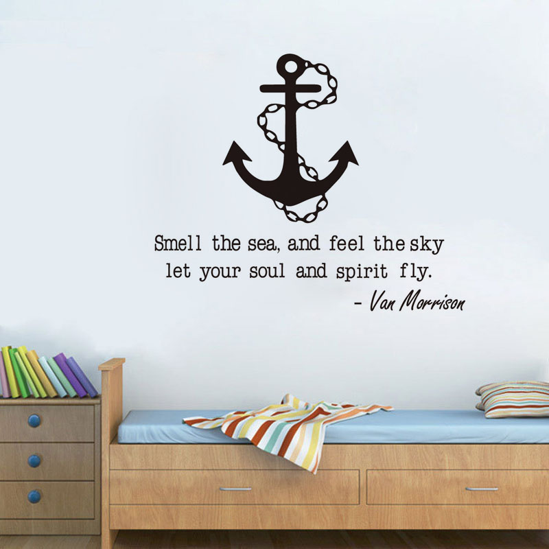 funny sailing quote with anchor wall sticker home decor living room
