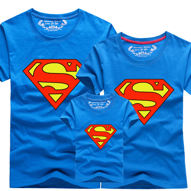 85c09297 Mother Father Baby Matching Family Clothes T-shirt Super Men Boy T-shirt  Cotton Men T-shirt Shipping Free