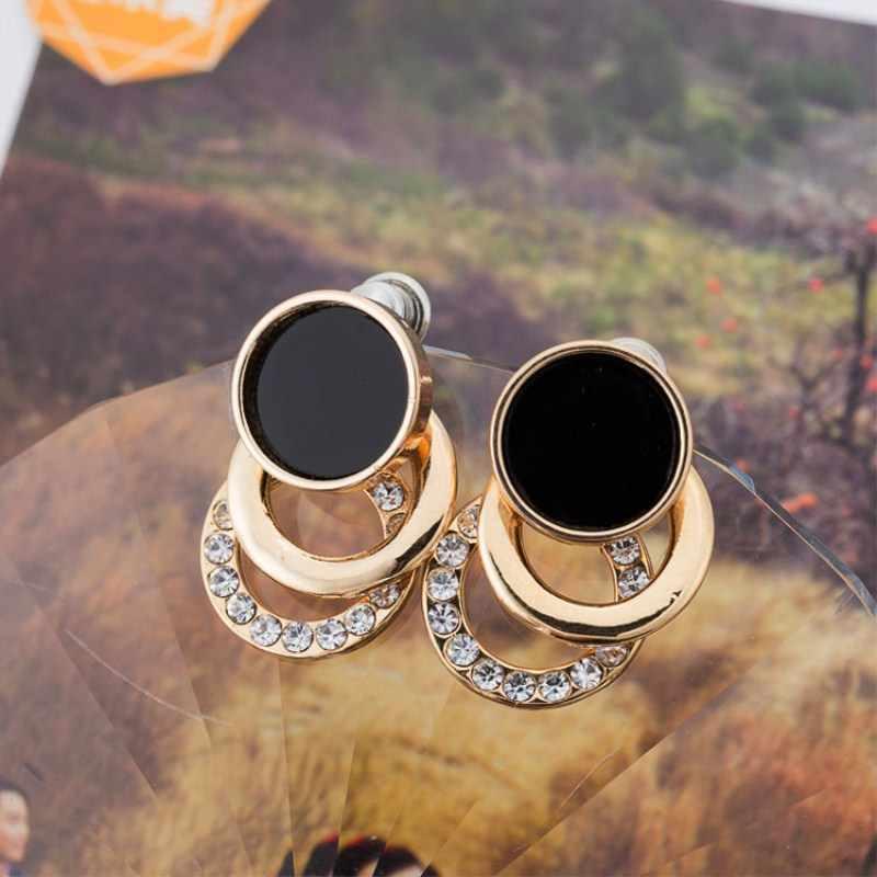 Brand New Design Fashion Charm Crystal Stud Earrings Geometric Round Circle Shiny Rhinestone Big Earring Jewelry Women Gift