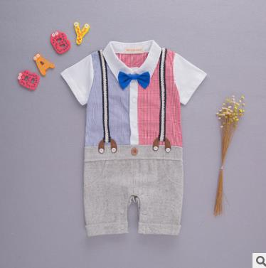 Baby Boys Romper Boys Jumpsuits Children Clothing Kid Clothes Boys Gentleman Clothes Romper Tie Short Sleeve Clothes 8pieces/lot