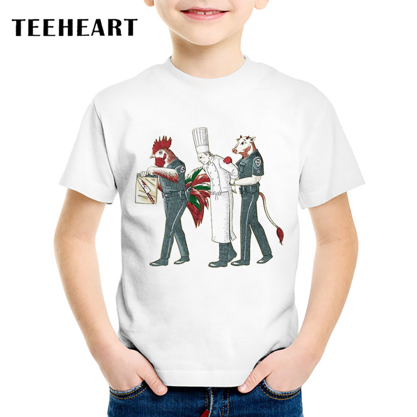 TEEHEART New 18M-10T Boys/girlss Summer Chicken Cow Police Arrested the Chef Printed T Shirt Children O-neck Short Sleeve TA626