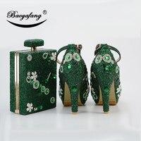 BaoYaFang/новые женские свадебные туфли с сумочкой в стиле «macthing», вечерние туфли на каблуке 11 см, женские туфли с ремешком на щиколотке с зелены