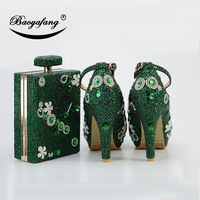 BaoYaFang New women wedding shoes with macthing bags Bride Party heel shoes woman 9cm Block heel ankle strap shoe green crystal