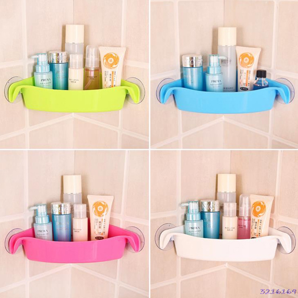 Bathroom Corner Storage Rack Wall Shelf With Suction Cup