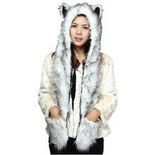 Симпатичные шапки с рисунком животных из искусственного меха панды, волка, полярного медведя, шапки с рукавицы-лапы для женщин, мужчин, подростков, зимняя флисовая Шапочка