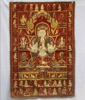 Collectible Traditional Tibetan Buddhism In Nepal Thangka Of Buddha Paintings Big Size Buddhism Silk Brocade Painting