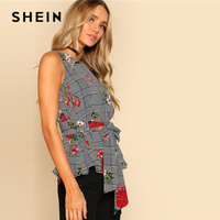SHEIN Self Belted Floral And Plaid Shell Top Women Fashion Round Neck Sleeveless Casual Blouse 2018 Summer Vacation Blouse 2