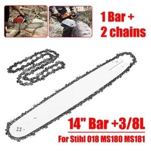 Image 4 - 14 Cal Bar + 3/8L 2 sztuk łańcuchy nadające się do pilarek Stihl 018 Ms180 Ms181 piły łańcuchowe piła łańcuchowa