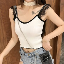 Summer Women Ladies  Casual Letter Strap Tank Tops Fashion Lace Patchwork Camisoles Vest Female Sexy V-Neck Knitted Crop