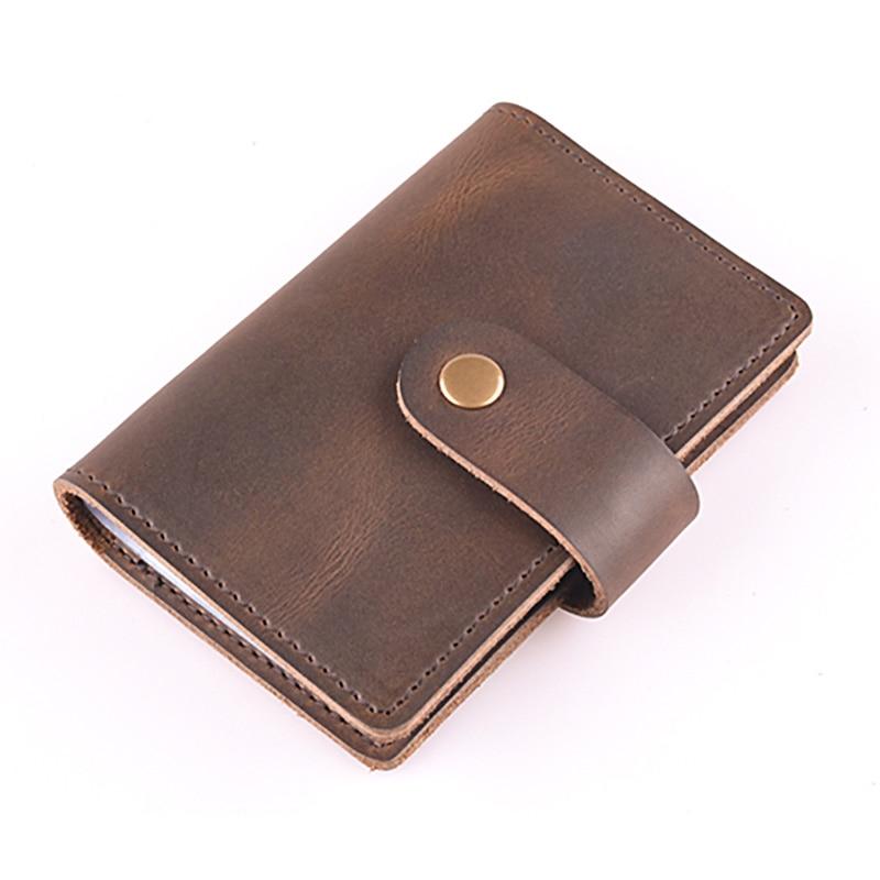 24 card slots handmade genuine leather namecard holder men