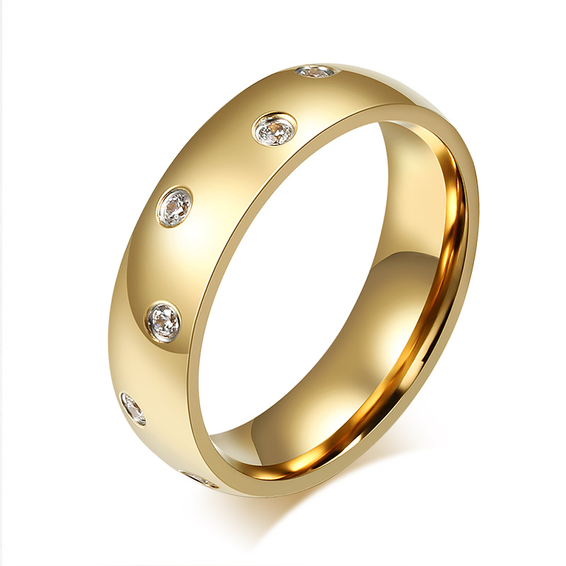 Tassina South Korean Jewelry Mens Ring Stainless Steel Plated Zircon Crystal Ring Wholesale Fashion Jewelry For Men TAR-098