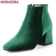 MORAZORA גדול גודל 34 48 חדש אופנה קרסול מגפי נשים נעלי כיכר העקב סתיו חורף קטיפה נשים מגפיים גבירותיי נעליים