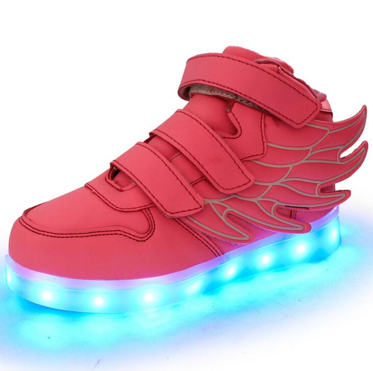 2016 New Usb Size USB Charging Basket Led Children Shoes With Light Up Kids Casual Boys