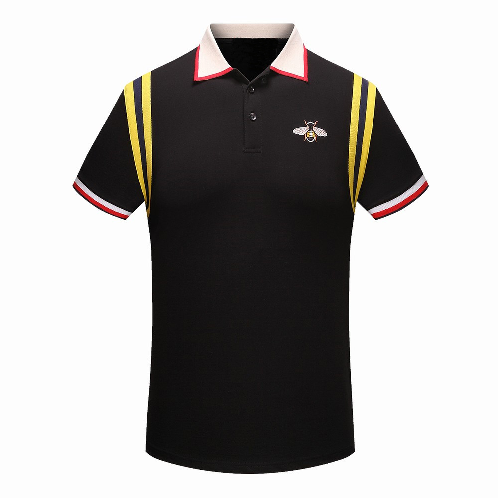 High New Novelty 2018 Men Embroidered bees stripes Fashion   Polo   Shirts Shirt Hip Hop Skateboard Cotton   Polos   Top Tee #F70