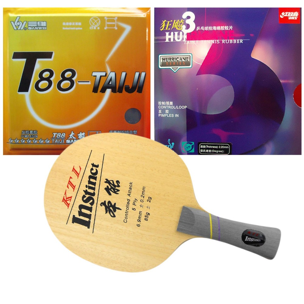 Pro Table Tennis PingPong Combo Racket  KTL Instinct 1008 with DHS Hurricane 3 and Sanwei T88- TAIJI  Long Shakehand-FL sword hd317 table tennis blade for pingpong racket