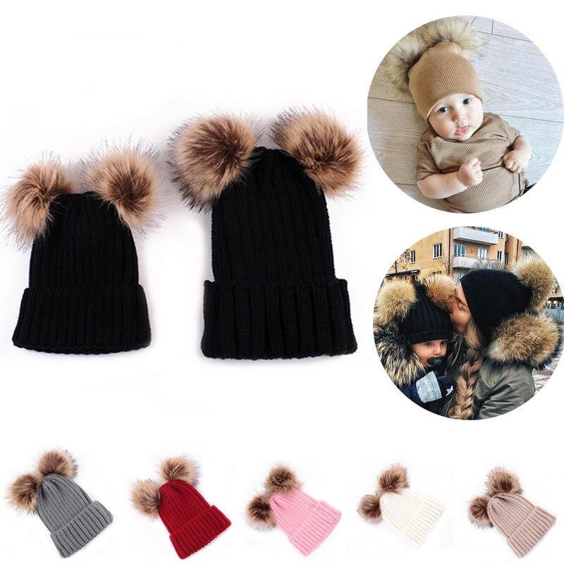 1 StÜcke Mama Neugeborenen Kind Kinder Baby Warm Doppel Pompon Stricken Hüte Pelz Pom Winter Häkeln Ski Cap