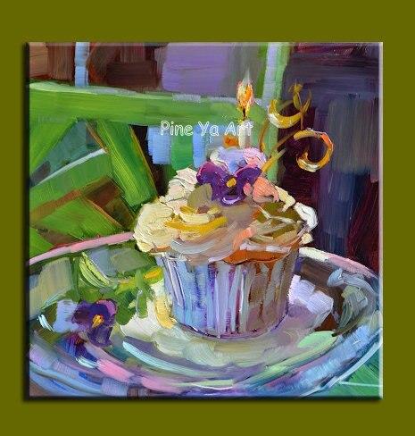 Large Modern canvas wall art handmade abstract birthday cake oil
