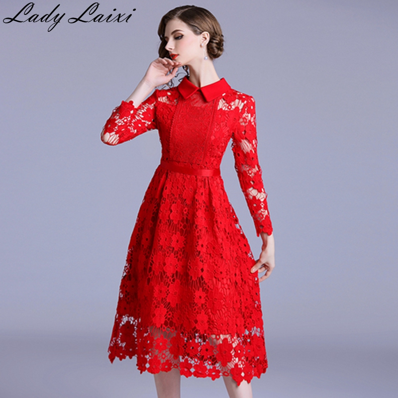 Spring Autumn Women Elegant Lace Dress Peter pan Collar Hollow Out Female Vestidos Crochet Long Sleeve Slim Party Dress RED