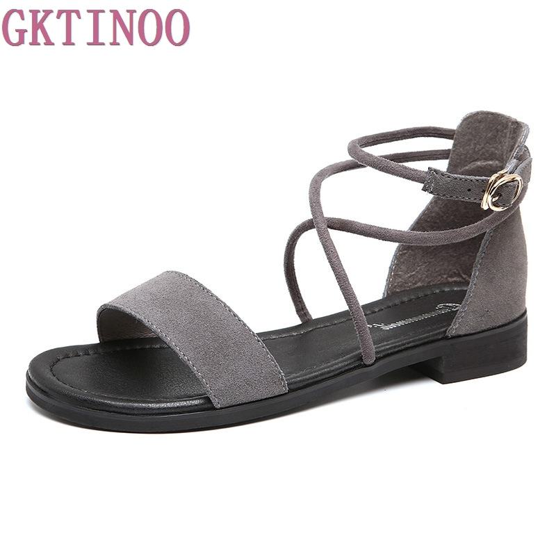 Genuine Leather Low Heels Women Sandals Plus Size 35-43 New Fashion Casual Summer Cross Tied Woman Shoes Flats 2017 summer genuine leather women sandals rose flowers sweet gladiator cross tied party shoes low square heels pump pink sandal