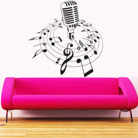 New Creative Music Vinyl Wall Decal Microphone Mic Melody Notes Song Bedroom Art Wall Sticker CD